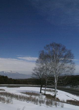 春はいつになるのか、白樺高原入り口